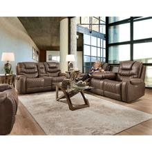 Double reclining sofa with drop down table and matching reclining console loveseat.