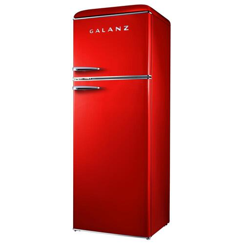 Galanz 12-Cu. Ft. Top Mount Retro-Style Refrigerator in Red