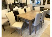 "Solid Top Dining Table 38"" x 64"" with 6 Upholstered side chairs"