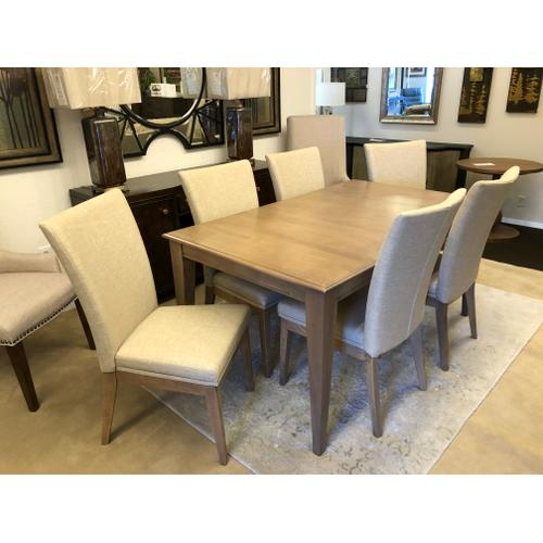 """Gallery - Solid Top Dining Table 38"""" x 64"""" with 6 Upholstered side chairs"""