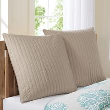 Camila Taupe Quilted Euro Sham
