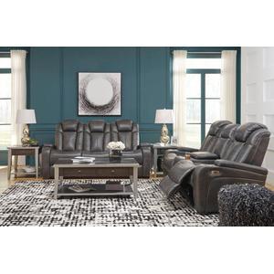 Turbulance- Quarry Power Reclining Sofa and Loveseat w/ Adjustable Headrest