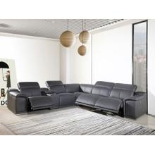 See Details - 9762 - Genuine Italian Leather - Gray 6-Piece Sectional (3 Power Reclining and Console)