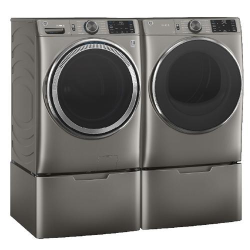 GE Smart Front Load ENERGY STAR  4.8 cu. ft. Steam Washer & 7.8 cu. ft. Gas Dryer with Pedestals- Satin Nickel