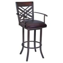 Full back, swivel bar stool with arms. Available in 26-inch counter height and 30-inch bar height. Durable brown PVC cushion sits atop a fully welded steel frame.