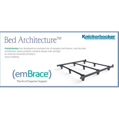 High performance support system offers the ultimate in form and function. Embrace has exclusive patented T-shaped rails with more than twice the strength of traditional bed frames.