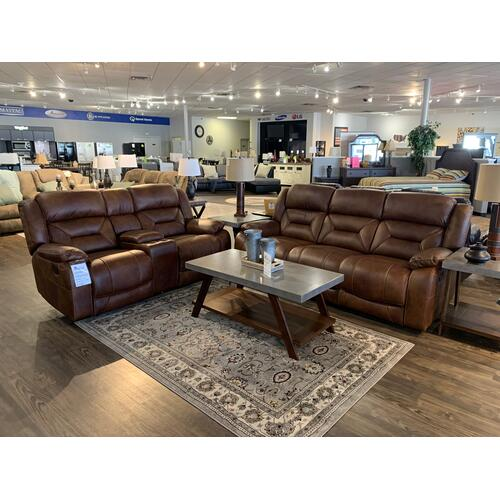 Manwah Nomad Leather Reclining Sofa and Loveseat