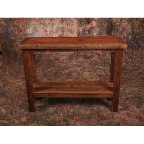 Cozy Creations Collection - Reclaimed Barnwood Sofa Table  With Shelf