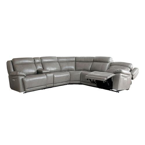 Bassett Furniture - Evo Leather Power Reclining Sectional with Power Tilt Headrests