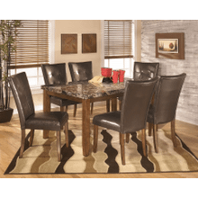 Lacey - Medium Brown - 7 Pc. - Rectangular Table & 6 Upholstered Side Chairs