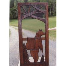 Handmade rustic wooden screen door featuring a bear and forest theme.