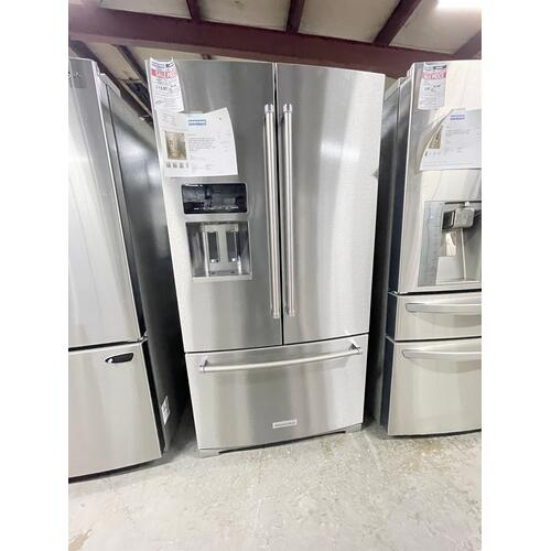 KitchenAid - ***ANKENY LOCATION*** 26.8 cu. ft. 36-Inch Width Standard Depth French Door Refrigerator with Exterior Ice and Water and PrintShield finish Stainless Steel with PrintShield™ Finish ***SCRATCH OR DENT 1 YEAR WARRANTY***