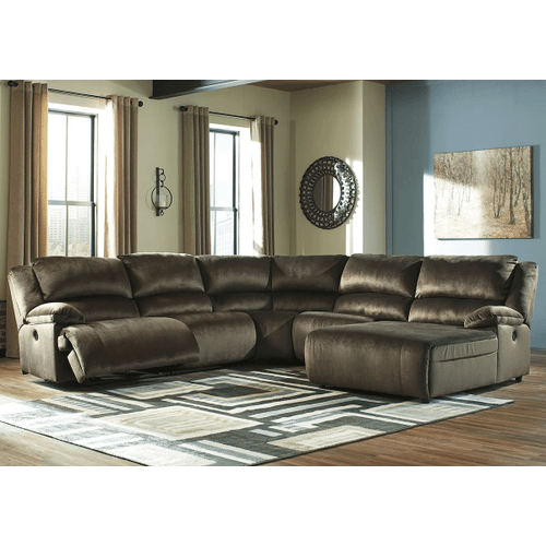 Clonmel - Chocolate - 2 Recliner Sectional with Pressback Chaise