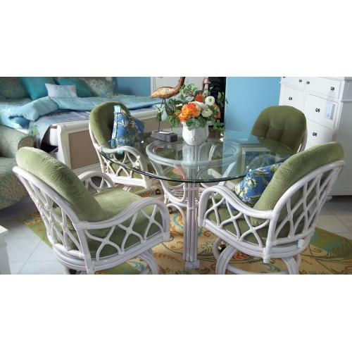PALM SPRINGS JAMACIA DINING   -  TABLE WITH 4 SWIVEL CASTER CHAIRS