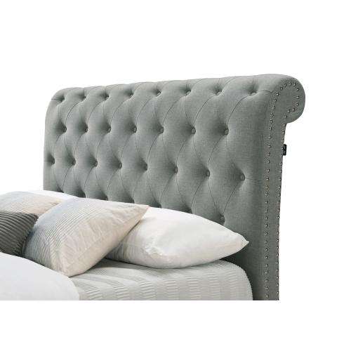 Janine Grey Queen Bed with Nailheads, Button Tufting, & a USB Port by Crown Mark, model 5104