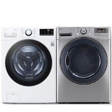 LG 4.5 cu. ft. Ultra Large Capacity Smart Wi-Fi Enabled Front Load Washer & 7.4 cu. ft. Ultra Large Capacity SteamDryer- Open Box
