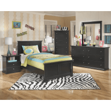 Maribel- Black- 8 PC.- Dresser, Mirror, Chest, Nightstand & Twin Panel Bed