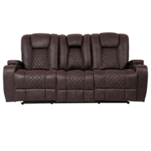 See Details - Aviator Brown Reclining Sofa with Drop Down Table