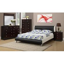 Black/White Leatherette Queen Bed