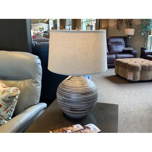 Tyndall Furniture & Mattress - Striped Ceramic Lamp with Linen Drum