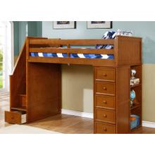 Multi-Purpose Loft - Twin Loft Bed - Rustic Pecan
