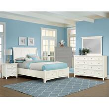 King White 4 PC Bedroom Set - Sleigh Bed with Storage Footboard