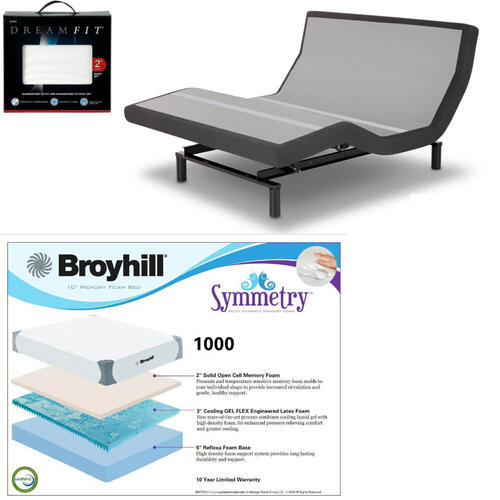 Leggett & Platt Prodigy 2.0 Adjustable Bed, Broyhill 1000 Cool Gel Memory Foam Mattress, and Set of Dreamfit Sheets