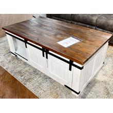 See Details - Barn Door Cocktail Table & 2 End Tables (SET)