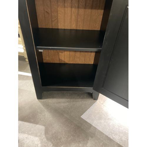 Jk Pine - Large Chimney Cupboard w/ glass in Black/Worn Finish       (57G-CA,75242)