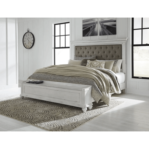 Kanwyn - Whitewash  King Upholstered Bed with Storage
