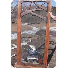 See Details - Handmade rustic wooden screen door featuring fishing theme.