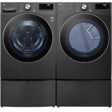 LG Smart Front Load Laundry Pair with ThinQ Technology - Black Steel