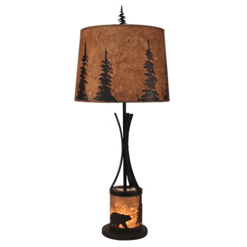 Coast Lamps - Kodiak Flat Bar Table Lamp with Bear Scene Night Light