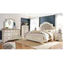Realyn - Queen Upholstered bed, Dresser, Mirror, & 1 x Nightstand