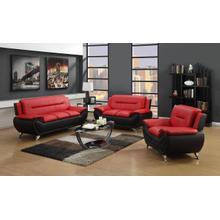 METRO  RED AND BLACK 3PCS LIVING ROOM SET