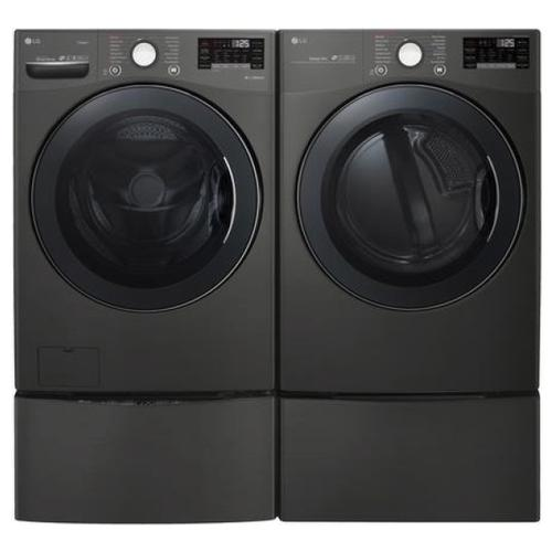 LG Smart wi-fi Enabled 4.5 cu.ft. Front Load Washer with TurboWash & 7.4 cu.ft. Electric Dryer with TurboSteam w/ Pedestals- Black Steel
