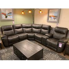 736 Leather Power Reclining Sectional With Adjustable Headrest & Next Level Zero Gravity