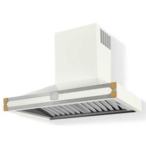 Lacornue Cornufe - Pure White Albertine 90 Hood with Polished Brass Accents