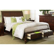Queen Sleigh Storage Bed (Available in Brown Cherry Finish)