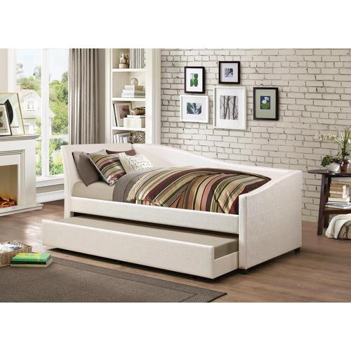 Ivory Upholstered Twin Daybed With Trundle