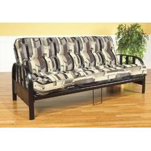 BLACK METAL FUTON WITH OVAL LOUVERED BAR ARMS