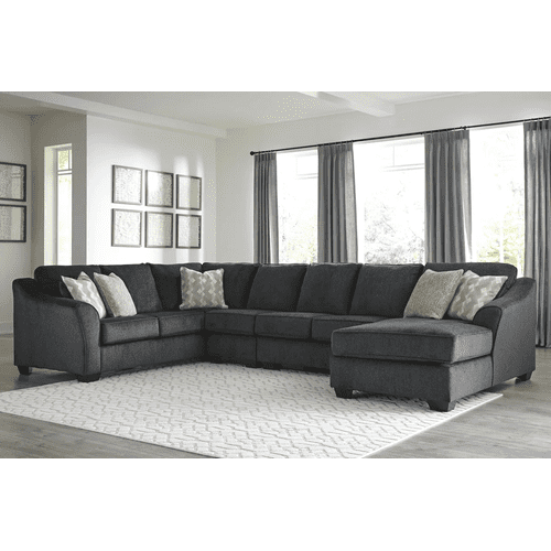 Eltmann - Slate - 4-Piece Sectional with Right Facing Chaise