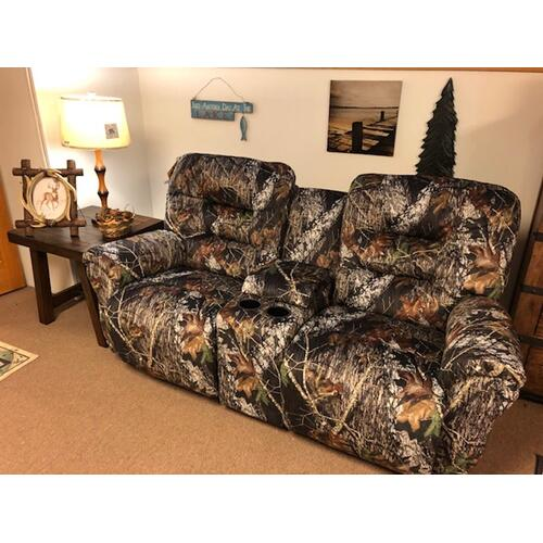 Rocking/Reclining Loveseat with Console. Made in America. Mossy Oak Camo Fabric.