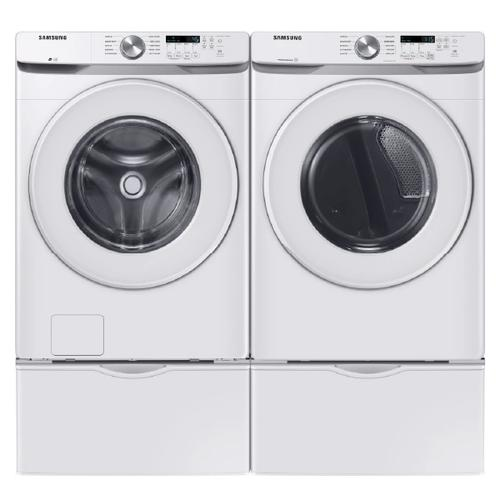 SAMSUNG Vibration Reduction Technology 4.5 Cu.Ft. Front Load Washer & 7.5 Cu.Ft. Electric Dryer with Pedestals - White