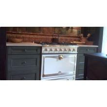 90cm CornueFe Dual Fuel Range in Ivory White w/ Chrome and Brass Trim