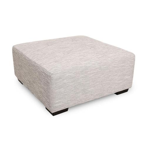 Square Ottoman with Button Tufts in Hannigan Fog Fabric