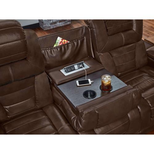 CORINTHIAN 73901-39HR Manhattan Desert Chocolate Power Reclining Console Loveseat