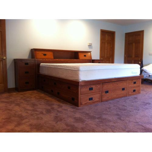 Mission Style Double High Chestbed with Slant Headboard and Night Stands