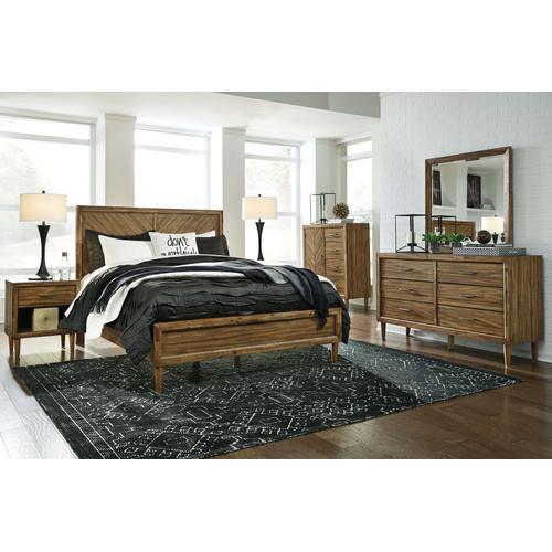 Broshtan - Queen Panel Bed, Dresser, Mirror, & 1 x Nightstand