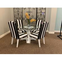 View Product - Terra Glass Pedestal Table w. Sunbeam Upholstered Chairs (4)